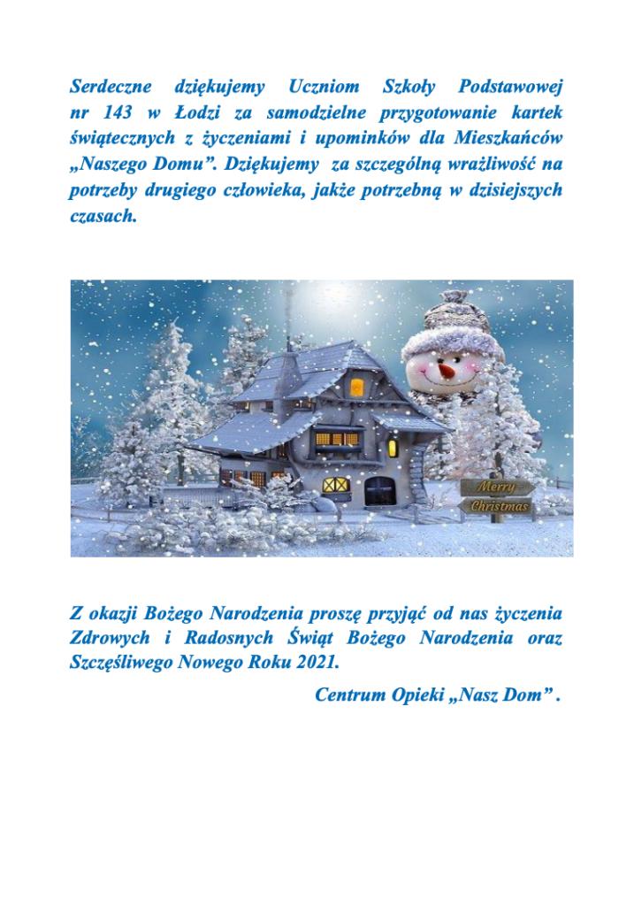 """Podziękowania oraz Życzenia świąteczne od Centrum Opieki """"Nasz Dom"""""""