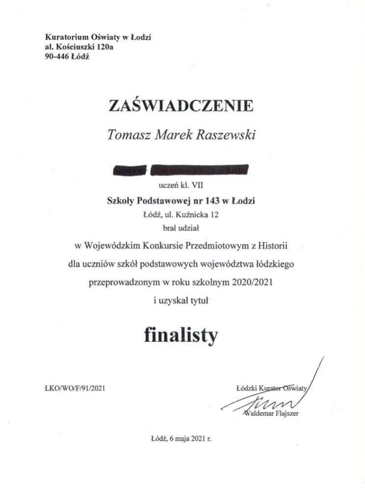 Zaświadczenie T.Raszewski